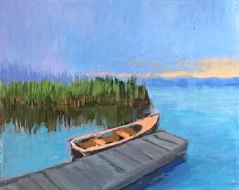 """5 AM Blues - Original Acrylic Oil Encaustic Landscape Painting - 10""""x 10"""""""