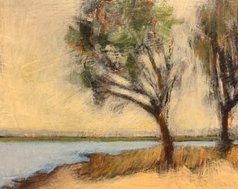 "Under the Whistling Tree - Original Acrylic Oil Encaustic Landscape  Painting - 10"" x 10"""