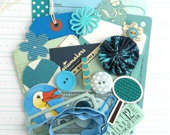 BLUE Themed Inspiration Kit, 25pcs, Blue Junk Journal Kit, Handmade Embellishments for Smash Books, DIY Journal, Blue Theme Scrapbook Kit