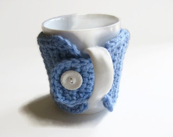 Ready To Ship Crocheted Blue Coffee Mug Cozy - Crocheted Blue Cup Cozy - Crocheted Blue Mug Warmer With Button