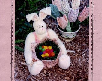 Sewing Pattern - Cottontail Stuffed Bunny - Tulip Flowers - Tulip Bowl - Easter Bunny Craft Pattern - Prairie Grove Peddler