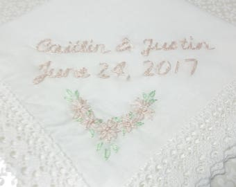 Personalized, wedding handkerchief, hand embroidered, soft pink/mint green, gift for bride, bridal hanky,  wrap, wedding gift, keepsake