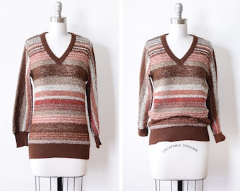 70s striped sweater, vintage v neck sweater, rust striped bouclé pullover knit, medium m