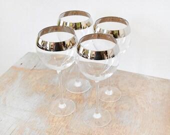 silver rim wine glasses, vintage 60s long stem wine glasses, dorothy thorpe style cocktail glasses