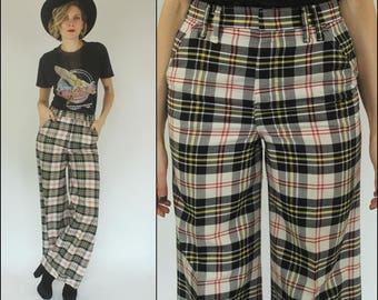 Vintage 70s Plaid Bell bottom Boho Preppy Wide leg High waist Trousers Pants XS S