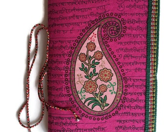 Paisley Art Journal Indian, Fuchsia Pink, Sister Gift, Mother Gift, Lady Present, Gift for her, Wife Gift, Grandma Gift,Handmade Paper Diary