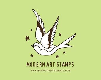Custom Stamp - Custom Rubber Stamp - Return Address Stamp - Custom Address Stamp - Personalized Stamp - Sparrow, Swallow, Bird - C33