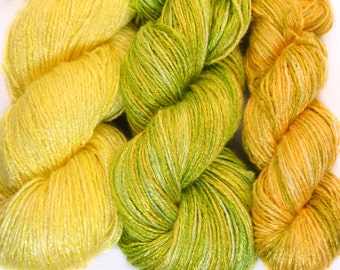 "Hand dyed yarn, bamboo yarn ""Dandelion"" organic yarn, fingering, vegan yarn, eco, knitting yarn, crochet, weaving, yellow, green, 7.6 oz"