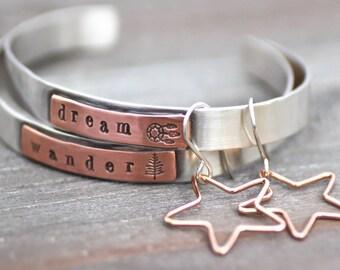 Sterling Silver Cuff Bracelet, Womens Cuff, Dream Catcher Cuff, Wanderlust Cuff, Boho Cuff, Choice Of 1 Custom Cuff, Copper Cuff Bracelet