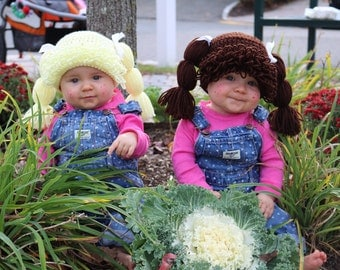 Cabbage Patch Hat, You Pick the Color 11 colors to choose from, Sizes Newborn to Large Adult  Halloween wig costume Pigtails hat with ribbon