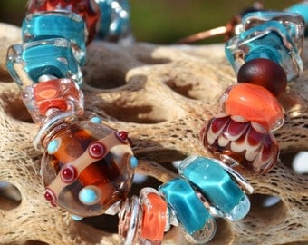 SO SOUTHWEST-Handmade Lampwork, Copper and Sterling Silver Bracelet