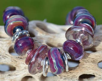 PASSION-Handmade Lampwork and Sterling Silver Bracelet