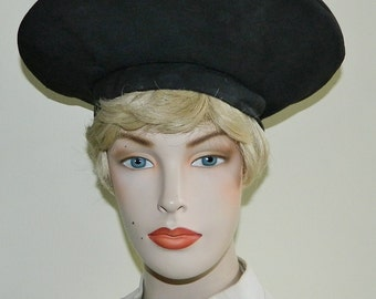 1940s Halo Hat Black Faille Sunburst Seaming Tam