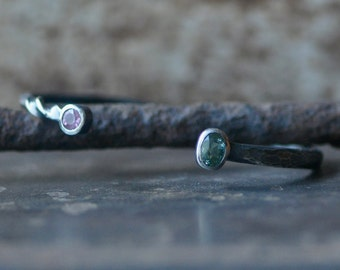 tourmaline bypass cuff in dark sterling silver