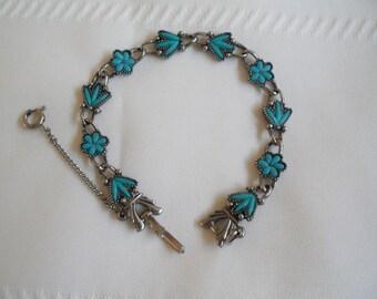 Silver Tone Turquoise Color Vintage Bracelet