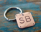 Monogram Keychain,Copper Gift, Monogram Key Chain, Custom Made, Personalized Key Chain, Mens Key Chain, Copper Gift, Hand Stamped