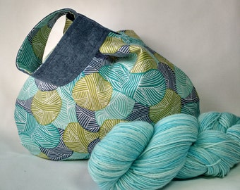 Japanese knot knitting crochet WIP project bag - medium size drawstring pouch purse - Wound Up teal green navy linen - free knitting pattern