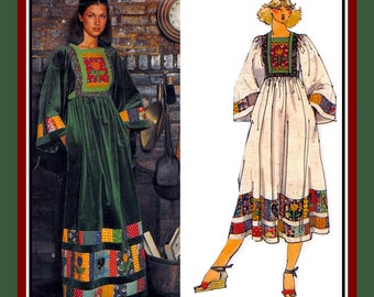 Vintage 1970s-BOHO PATCHWORK DRESS-Vogue Sewing Pattern-Two Styles-Artful Piecework Bodice-Applique-Kimono Sleeves-Transfer-Size 10-Rare