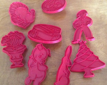 8 Tupperware Red Cookie Cutters, Bunny, Christmas, Halloween, Birthday Cake
