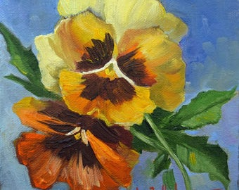 RESERVED For CP, Floral Painting Still Life,Pansies Painting I,Gold And Rust Pansies,Original Small Canvas Art by Cheri Wollenberg