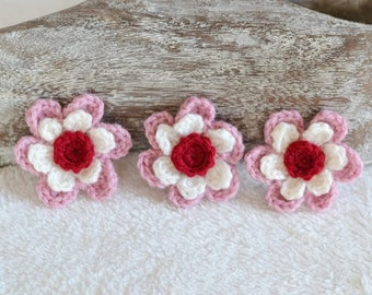 Cream, Rose Pink and Ruby Crochet Flower Applique Motif Embellishments