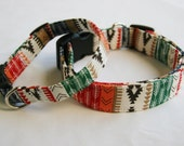 Southwest- Aztec-Tribal Stripe-Green Orange Black Red White- Dog Collar Small to Large Breed Dog-5/8- 1 inch 1.5 -2 inch width