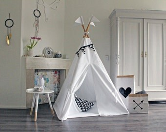 Kids teepee | Pure White | tipi | play tent | high quality play teepee with mat and poles | childrens teepee | cotton teepee | MIDI size