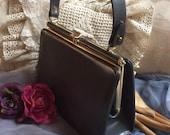 Vintage retro grey faux leather Kelly handbag, dark grey leatherette single handle purse, Triangle New York grey/blue structured handbag
