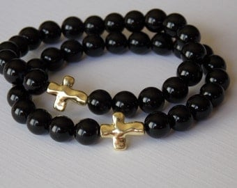 Agate and Onyx Cross Bracelet Stretch Bracelet