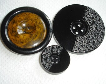 Vintage large Plastic Buttons - Mother and Daughter Buttons and a Button with Rusty marbled center