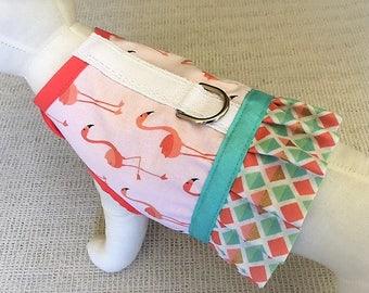 Flamingo Ruffle Dog Harness Vest