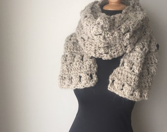Pure Wool Rustic Super Scarf in Oatmeal Natural Wool Cowichan Sweater Wool Ready to Ship