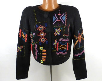 Beaded Sweater Vintage Cardigan Holiday Christmas Party Tacky Women's size S Cropped Tribal Southwestern