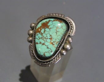 MASSIVE Vintage Cocktail Ring . Sterling Silver . Turquoise . Navajo Jewelry