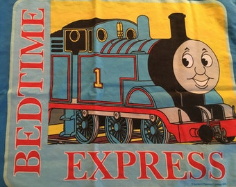 Thomas the Train  Pillowcase Reclaimed Bed Linens Fabric Standard Size Pillow Case 19 x 30 Bedding Cotton Polyester