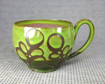 Green and Pink Leaf Mug