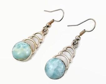 Larimar Earrings, Blue Stone, Sterling Silver, Vintage Earring, Pierced, Dangle, Dolphin Stone, Stefilia Stone, Pectolite, Atlantis