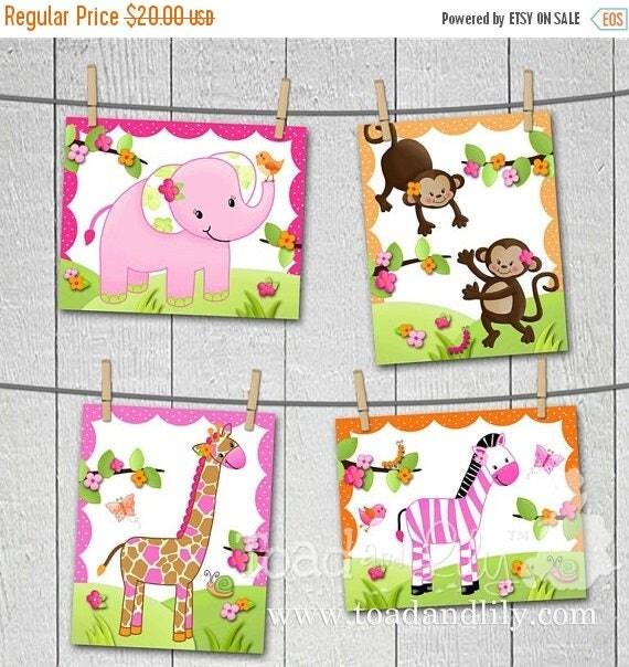 Springtime Sale Set of 4 Pretty Pink Girly Jungle Animals Girls Bedroom Baby Nursery 8 x 10 Wall ART PRINTS