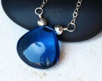 "Sapphire Blue Quartz Necklace with Silver Pyrite on Sterling Silver - ""Deep Water"" by CircesHouse on Etsy"