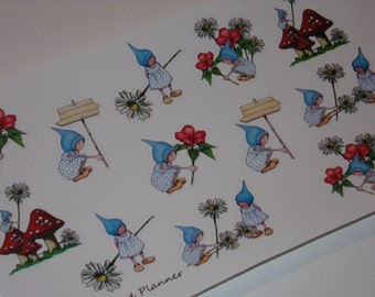 Hand-Drawn Gnome Stickers / Planner Stickers / Cute Stickers