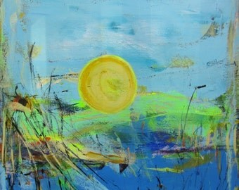Abstract Landscape Painting by Francine Ethier, Blue Green Art, 24 x 24 inches