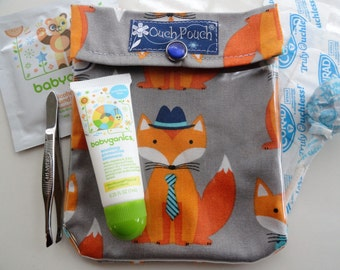 Fox Ouch Pouch Clear First Aid Organizer for Diaper Bag Purse (Small 4x5 Fabric with TSA Friendly Vinyl) Baby Boy Shower Gift Under 10