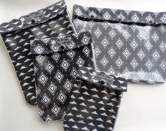 Black Diamonds Ouch Pouch Set of 4 Clear Front Pockets First Aid Toiletries Make Up Diaper Bag Organizers Personalize Gift for Her Under 40