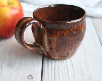 Small Handmade Rustic Stoneware Mug in Brown Speckled Glaze Rustic Pottery Cup Ready to Ship Made in USA