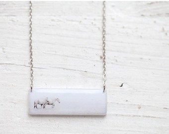 Purity necklace - White Horses necklace - White dainty necklace - White necklace - Delicate necklace - Art photo jewelry (N080)