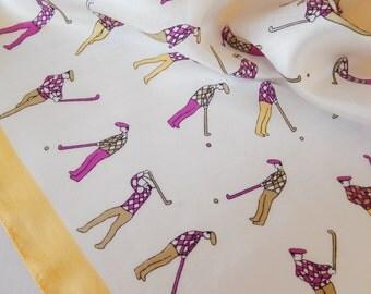 vintage small scarf, playing golf, pocket square, pochette, petite, foulard, vintage accessory, silk scarf