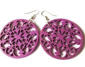Purple Kaleidoscope Wooden Earrings