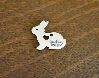 Stainless Steel   Custom Laser Bunny Rabbit Charm CC372