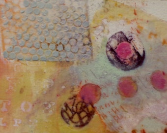 Small mixed media collage on fabric with encaustic paint; Free Shipping in the US