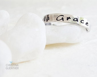 Personalized Name Rings, Sterling Silver Stackable Rings, Stacking, Personalize Custom Hand Stamped, Names Words, Christina Guenther